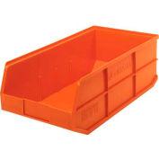 "Quantum Plastic Stackable Shelf Bin SSB485 11""W x 20-1/2""D x 7""H, Orange - Pkg Qty 6"