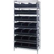 Quantum WR8-425 Chrome Wire Shelving with 21 SSB425 Stackable Shelf Bins Black, 36x12x74