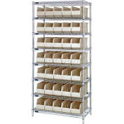 Quantum WR8-441 Chrome Wire Shelving with 35 SSB441 Stackable Shelf Bins Ivory, 36x14x74