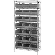 Quantum WR8-465 Chrome Wire Shelving with 21 SSB465 Stackable Shelf Bins Gray, 36x18x74