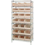 Quantum WR8-465 Chrome Wire Shelving with 21 SSB465 Stackable Shelf Bins Ivory, 36x18x74