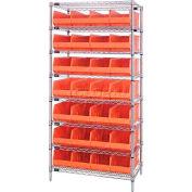 Quantum WR8-483 Chrome Wire Shelving with 28 SSB483 Stackable Shelf Bins Orange, 36x21x74