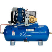 Quincy QT™ Max Two-Stage Air Compressor, 10 HP, 120 Gallon, Horizontal, 460V-3-Phase