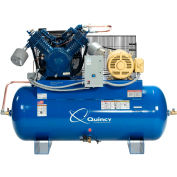 Quincy QT™ Max Two-Stage Air Compressor, 15 HP, 120 Gallon, Horizontal, 460V-3-Phase