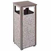 "Flat Top Waste Receptacle, Bronze/Gray, 12 gal capacity, 13.5""Sq x 32""H"