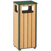 "Flat Top Waste Receptacle, Green/Cedar, 12 gal capacity, 13.5""Sq x 32""H"