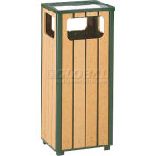 "Ash And Trash Receptacle, Green/Cedar, 12 gal capacity, 13.5""Sq x 32""H"