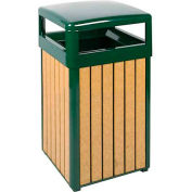 "Hinged Top Urn And Waste Receptacle, Cedar/Green, 29 gal., 21""Sq x 37""H"