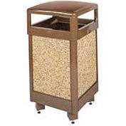 "Hinged Top Garbage Can, Brown, 29 gal., 21""Sq x 40""H"