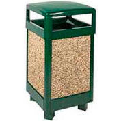 "Hinged Top Garbage Can, Green/Brown, 29 gal., 21""Sq x 40""H"