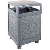 "Hinged Top Garbage Can, Gray, 38 gal., 26""Sq x 40""H"