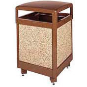 "Hinged Top Garbage Can, Brown, 38 gal., 26""Sq x 40""H"