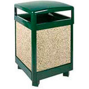 "Hinged Top Garbage Can, Green/Brown, 38 gal., 26""Sq x 40""H"