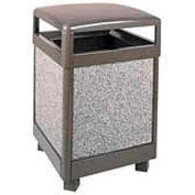 """Hinged Top Garbage Can, Bronze/Gray, 38 gal., 26""""Sq x 40""""H"""