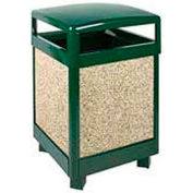 "Hinged Top Trash Container, Green/Brown, 48 gal., 26""Sq x 40""H"