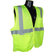 Radians® SV2Z Economy Class 2 Mesh Safety Vest W/ Zipper, Hi-Vis Green, M - Pkg Qty 12