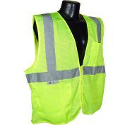 Radians® SV2Z Economy Class 2 Mesh Safety Vest W/ Zipper, Hi-Vis Green, XL - Pkg Qty 12