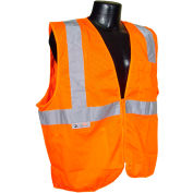 Radians® SV2Z Economy Class 2 Mesh Safety Vest W/ Zipper, Hi-Vis Orange, XL - Pkg Qty 12