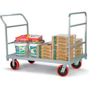 """Raymond Products 3967 HD Platform Truck 8"""" Quiet Poly Casters, 2 Fixed & Swivel, 1 Push & End Handle"""