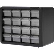 "Akro-Mils Plastic Drawer Parts Cabinet 10116 - 10-1/2""W x 6-3/8""D x 8-1/2""H, Black, 16 Drawers"