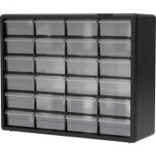 "Akro-Mils Plastic Drawer Parts Cabinet 10124 - 20""W x 6-3/8""D x 15-13/16""H, Black, 24 Drawers"