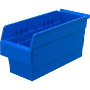 "Akro-Mils ShelfMax® Plastic Shelf Bin Nestable 30866 - 6-5/8""W x 15-5/8""D x 8""H, Blue - Pkg Qty 10"