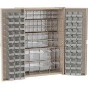 """Akro-Mils Cabinet HD4824TVAB w/16 TiltView & 66 Clear AkroBins, 48""""W x 24""""D x 72""""H, Beige"""