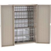 """Akro-Mils Cabinet HD4824TV w/16 TiltView Bins, Louvered Back/Doors, 48""""W x 24""""D x 72""""H,Beige"""