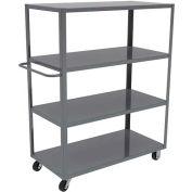 "Akro-Mils® Steel Shelf Cart 30x60 4 Lip Up Horizontal Handle 8"" Casters R4ST8MR3060LU"