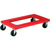 "Akro-Mils® Red Flush Polyethylene Dolly 30 x 18 4"" Elastic Rubber Casters RMD3018F4RXR"