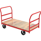 "Akro-Mils® Steel Frame Hardwood Deck Truck 2 Cross Bar Handle 6"" Mold-On 27x54 RPT27542D5M6"