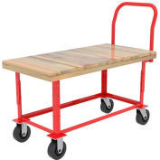 "Akro-Mils® Adj. Work Ht. Wood Platform Truck 8"" Rubber with Shelf 48x24 RWH24481A5M8AS"