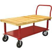 "Akro-Mils® Adj. Height Wood Platform Truck 6"" Rubber with Shelf 48x24 RWH2448EA5M6AS"