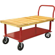 """Akro-Mils® Fixed Work Height Wood Platform Truck 6"""" Rubber with Shelf 48x24 RWH2448EA5M6S"""