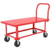 "Akro-Mils® Adj. Work Height Steel Platform Truck 6"" Poly with Shelf 48x24 RWHS24481A5Y6AS"