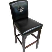 """New Orleans Saints Pub Stool, 17""""W x 19""""D x 44""""H, Black Synthetic Leather, 2/PK"""