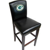 "Green Bay Packers Counter Stool, 17""W x 19""D x 38""H, Black Synthetic Leather, 2/PK"