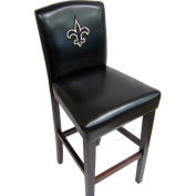 """New Orleans Saints Counter Stool, 17""""W x 19""""D x 38""""H, Black Synthetic Leather, 2/PK"""