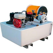 "200 Gallon Fiberglass ""Space-Saver"", 5.5 / K40 Pump, 300' of 1/2"" Hose, Electric Reel"