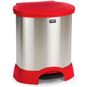 Rubbermaid® 23 Gallon Step-On Container, Stainless Steel/Red - FG614687RED