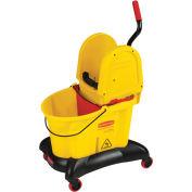 Rubbermaid Wavebrake® 8.75 Gallon Dual-Water Bucket/Wringer W/ Down Press, Yellow - RCP7677YEL