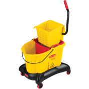 Rubbermaid Wavebrake® 35 Qt. Dual-Water Bucket/Wringer W/ Side Press, Yellow - RCP768000YW