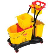 Rubbermaid Wavebrake® 7780 Mopping Trolley w/Side Press, 35 Qt. Yellow