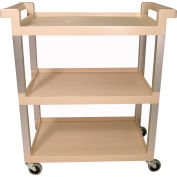 "Rubbermaid® Service Cart, Aluminum Posts, 3 Shelf, 31-1/2""Lx16-1/4""W, Beige"