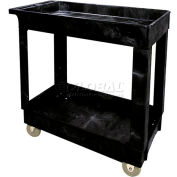 Rubbermaid® 9T66 Economical Tray Shelf Black Plastic Service Cart 34x16