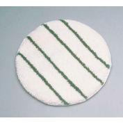 """Rubbermaid® 17"""" Low Profile Scrub Strip Yarn Carpet Bonnet, White/Green - RCPP267"""