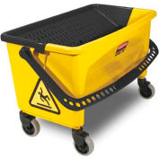 Rubbermaid® HYGEN 43Qt. Press Wring Bucket For Microfiber Flat Mops, Yellow - RCPQ90088YW