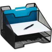 Rolodex Mesh Combo Tray with 2 Incline Vanes & 3 Trays Black