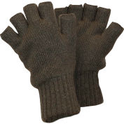 RefrigiWear Fingerless Wool Gloves, Double-Layer Knit Cuff, Green L
