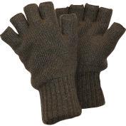 RefrigiWear Fingerless Wool Gloves, Double-Layer Knit Cuff, Green XL